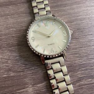 American Eagle Silver Link Crystal Accent Watch